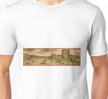 Baia Vintage map.Geography Italy ,city view,building,political,Lithography,historical fashion,geo design,Cartography,Country,Science,history,urban Unisex T-Shirt