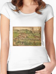 Baden Vintage map.Geography Germany ,city view,building,political,Lithography,historical fashion,geo design,Cartography,Country,Science,history,urban Women's Fitted Scoop T-Shirt