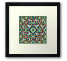 Abstract colorful tiles mosaic painting geometric  Framed Print