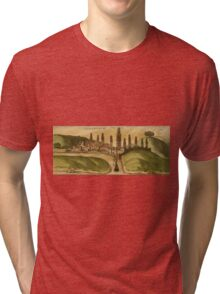 Azemmour Vintage map.Geography Morocco ,city view,building,political,Lithography,historical fashion,geo design,Cartography,Country,Science,history,urban Tri-blend T-Shirt