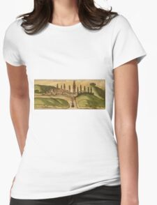 Azemmour Vintage map.Geography Morocco ,city view,building,political,Lithography,historical fashion,geo design,Cartography,Country,Science,history,urban Womens Fitted T-Shirt