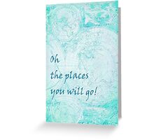 Bright Aqua Blue World Map Inspirational Quote, back to school Greeting Card