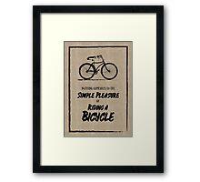 Vintage Bike Grunge Simple Pleasure Riding Quote Framed Print