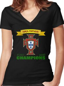 Euro 2016 Football - Team Portugal Women's Fitted V-Neck T-Shirt