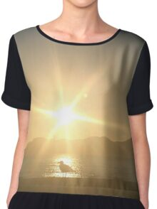 sunset with the seagulls Women's Chiffon Top