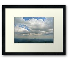 Natural mountains scenery with trees and cloudy sky. Framed Print