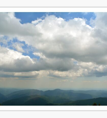 Natural mountains scenery with trees and cloudy sky. Sticker