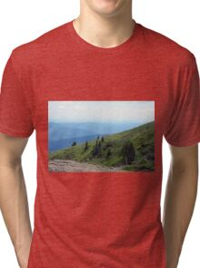 Natural mountains scenery with trees and cloudy sky. Tri-blend T-Shirt