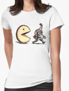 Pacman Chasing Mailman Womens Fitted T-Shirt