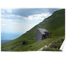 Abandoned house in the mountains with cloudy sky. Poster