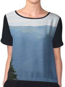 Natural mountains scenery with trees and cloudy sky. Chiffon Top
