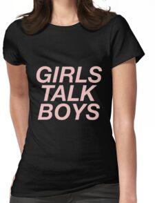 girls talk boys vers. 1 - black Womens Fitted T-Shirt