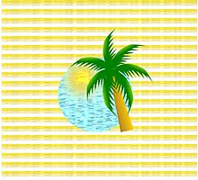 Sandy stripes and a palm tree Photographic Print