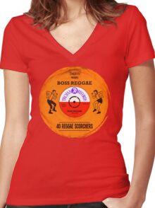 """TROJAN RECORDS VINYL """" BOSS REGGAE """" Women's Fitted V-Neck T-Shirt"""