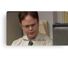 dwight schrute where is the clitoris quote  Canvas Print