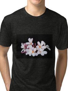 Frangipani / plumeria on black Tri-blend T-Shirt