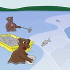 Fishing Bears - Jumping Salmon by Thingsesque