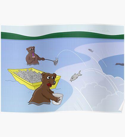 Fishing Bears - Jumping Salmon Poster