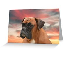Cute Boxer Dog Water Color Oil Painting Art Greeting Card
