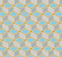 Tumbling Blocks, Orange/Blue by Hannah Cook