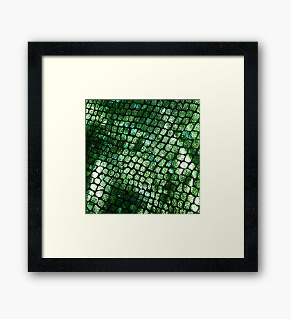 Shiny Emerald Scales Framed Print