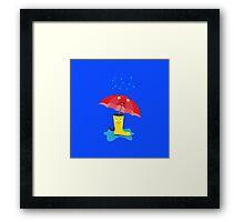Raincloud, rubber boots and umbrella Framed Print