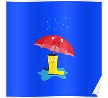 Raincloud, rubber boots and umbrella Poster