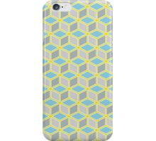 Tumbling Blocks, Yellow/Blue iPhone Case/Skin