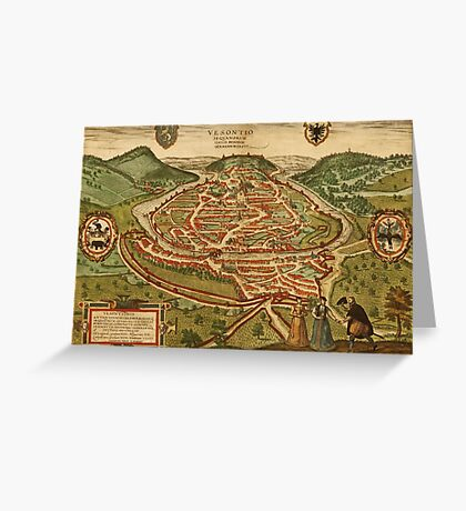 Besancon Vintage map.Geography France ,city view,building,political,Lithography,historical fashion,geo design,Cartography,Country,Science,history,urban Greeting Card