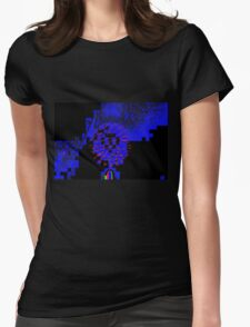 RED STARBURST OUT OF BLUE Womens Fitted T-Shirt