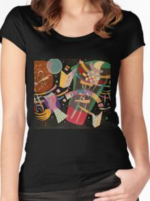 Abstract colour on black Kandinsky painting Women's Fitted Scoop T-Shirt