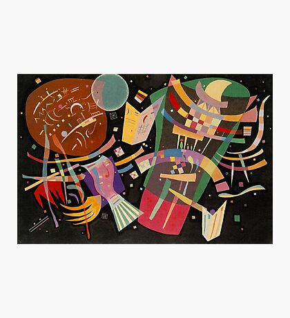 Abstract colour on black Kandinsky painting Photographic Print