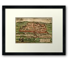 Blois Vintage map.Geography France ,city view,building,political,Lithography,historical fashion,geo design,Cartography,Country,Science,history,urban Framed Print