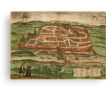 Blois Vintage map.Geography France ,city view,building,political,Lithography,historical fashion,geo design,Cartography,Country,Science,history,urban Canvas Print