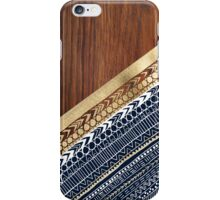 Navy & Gold Tribal on Wood iPhone Case/Skin