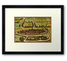 Bourbourg Vintage map.Geography France ,city view,building,political,Lithography,historical fashion,geo design,Cartography,Country,Science,history,urban Framed Print