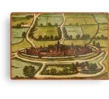 Bourbourg Vintage map.Geography France ,city view,building,political,Lithography,historical fashion,geo design,Cartography,Country,Science,history,urban Metal Print