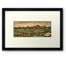 Bourges Vintage map.Geography France ,city view,building,political,Lithography,historical fashion,geo design,Cartography,Country,Science,history,urban Framed Print