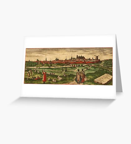 Bourges Vintage map.Geography France ,city view,building,political,Lithography,historical fashion,geo design,Cartography,Country,Science,history,urban Greeting Card