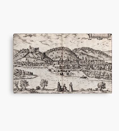 Bratislava Vintage map.Geography Slovakia ,city view,building,political,Lithography,historical fashion,geo design,Cartography,Country,Science,history,urban Canvas Print