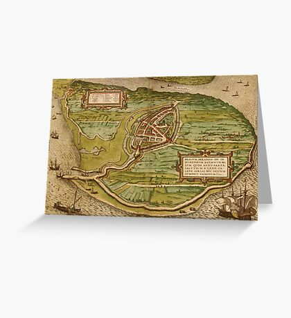 Brielle Vintage map.Geography Netherlands ,city view,building,political,Lithography,historical fashion,geo design,Cartography,Country,Science,history,urban Greeting Card