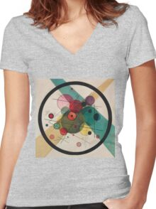 Kandinsky Abstract Painting Women's Fitted V-Neck T-Shirt