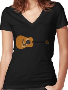 Hansard Guitar Women's Fitted V-Neck T-Shirt