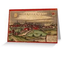 Brouwershaven Vintage map.Geography Netherlands ,city view,building,political,Lithography,historical fashion,geo design,Cartography,Country,Science,history,urban Greeting Card