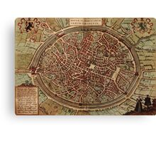 Brugge Vintage map.Geography Belgium ,city view,building,political,Lithography,historical fashion,geo design,Cartography,Country,Science,history,urban Canvas Print