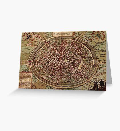 Brugge Vintage map.Geography Belgium ,city view,building,political,Lithography,historical fashion,geo design,Cartography,Country,Science,history,urban Greeting Card