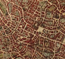 Brugge Vintage map.Geography Belgium ,city view,building,political,Lithography,historical fashion,geo design,Cartography,Country,Science,history,urban Sticker
