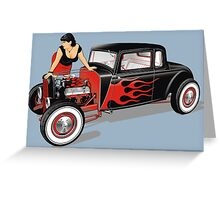 Hot Rod with Pin-Up Girl Greeting Card