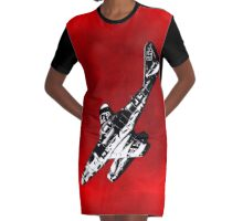 ME262 Jet Fighter of WW2 Graphic T-Shirt Dress