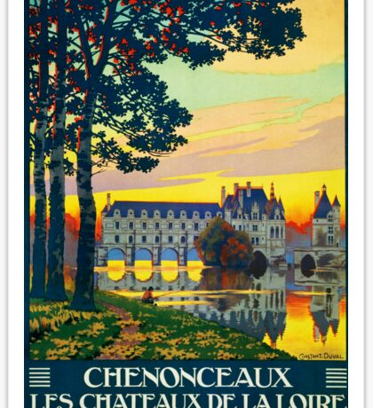 Chenonceaux, French Travel Poster Sticker